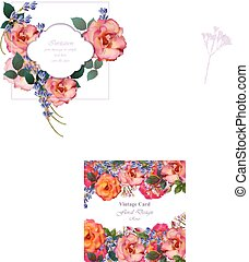 Wedding Invitation Card vector. Roses and lavender flowers. Primrose pink colors