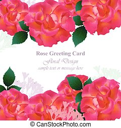 Wedding Invitation Card vector. Roses and lavender flowers. Red pink colors