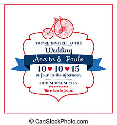 Wedding Invitation Card -Vintage Bicycle Theme - in vector