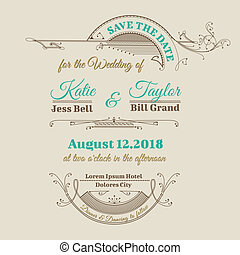 Wedding Invitation Card - Vintage Frame Theme - in vector