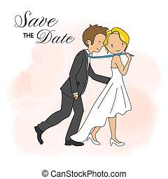 Wedding invitation card. Wedding couple in funny pose.