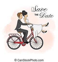 Wedding invitation card. Wedding couple on bicycle