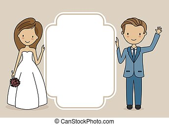 Wedding invitation card. Wedding couple with frame for text.