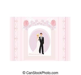 wedding invitation card with a cute couple