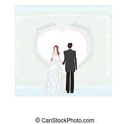 wedding invitation card with a wedding couple