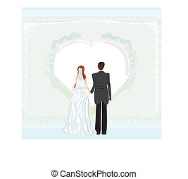 wedding invitation card with a wedding couple