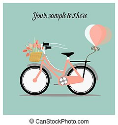 Wedding invitation card with bicycle and a basket full of flowers