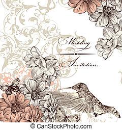 Wedding invitation card with birds