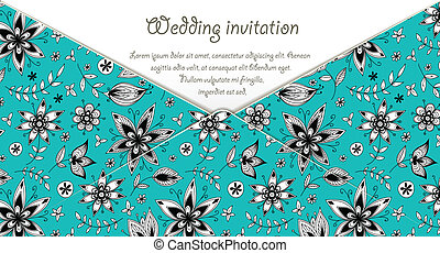 Wedding invitation card with blue floral pattern