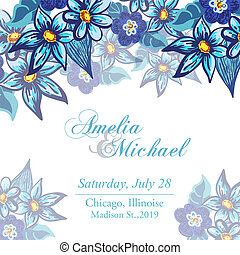 Wedding invitation card with blue flowers