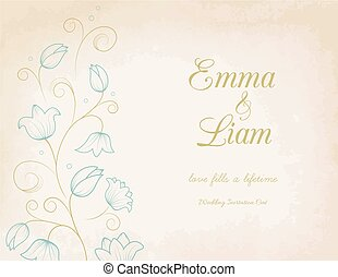 Wedding invitation card with blue lily flowers
