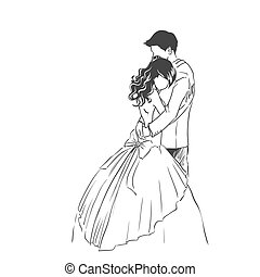 Wedding invitation card with bride and groom. Sketch type.