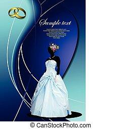 Wedding invitation card with bride