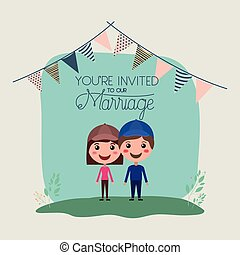 wedding invitation card with couple characters