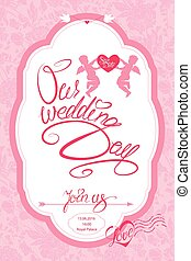 Wedding Invitation Card with cute angels and heart with calligraphic text Save the Date, Join us and Our Wedding Day on pink floral background.