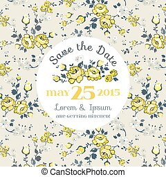 Wedding Invitation Card - with Floral Blossom Background - Save the Date - in vector