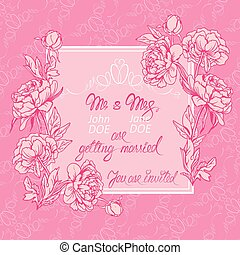 Wedding invitation card with floral elements, flowers, vignette, calligraphic handwritten text on pink background.