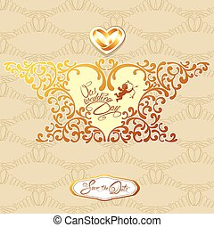 Wedding invitation card with floral elements, frame in heart shape, vignette, calligraphic handwritten text, angel, rings on beige and gold background.