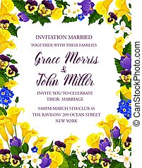 Wedding invitation card with flower bouquet