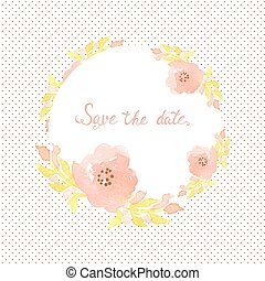 Wedding invitation card with flowers on polka dot background.