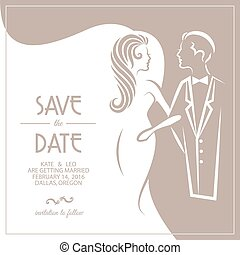 Wedding invitation card with groom and bride