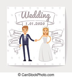 Wedding invitation card with just married young couple and them names on hand drawn ribbons vector template