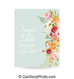 Baby shower invitation template floral greeting card with lily and wedding invitation card with lily flowers and orchid baby shower decoration in vector filmwisefo