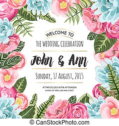 Wedding invitation card with painted flowers and plants. Vector illustration, cute design