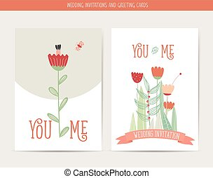 Wedding invitation card with romantic flower templates