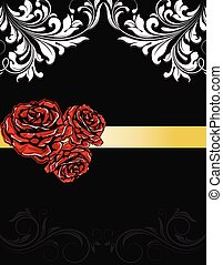 Wedding invitation card with roses