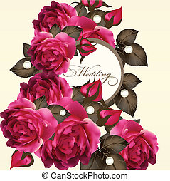 Wedding invitation card with roses - Vector greeting ...