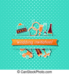 Wedding invitation card with stickers in retro style.