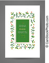 Wedding invitation card with watercolor floral branches.