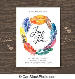 Wedding invitation card with watercolor feathers. Boho design