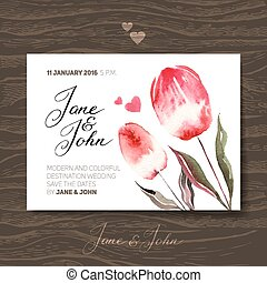 Wedding invitation card with watercolor flowers