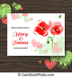 Wedding invitation card with watercolor poppy. Vector wooden background