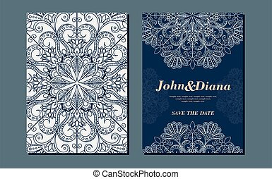 Wedding invitation cards in an vintage-style blue and beige. Beautiful Victorian ornament. Frame with floral elements. Vector illustration.