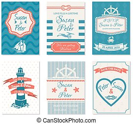 Wedding Invitation Cards In Nautical Style