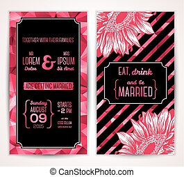 Wedding invitation cards template with abstract flowers.