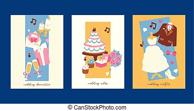 Wedding invitation cards vector illustration. Marriage decoration, cakes, outfits for bride and groom. jacket, bow, white dress, shoes, cupcakes, bunch of flowers, ring, champagne.