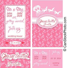 Wedding invitation cards with floral elements, calligraphic hand