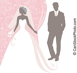 wedding - Invitation cards with the bride