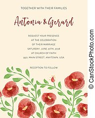 Wedding invitation cards with watercolor elements