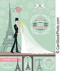 Wedding invitation cards.Bride,groom,Paris Winter