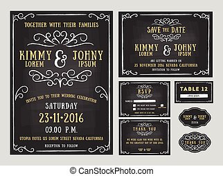 Wedding invitation chalkboard design with flourishes line. include Invitation card, Save the date, RSVP card, Thank you card, Table number, Gift tags, Place cards, Respond card. Vector illustration