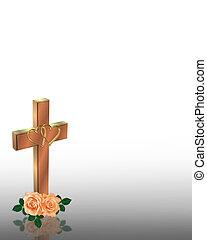 Wedding Invitation Christian Cross
