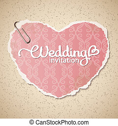 wedding invitation - vintage wedding invitation with paper...