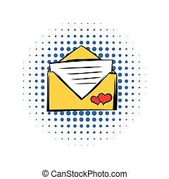 Wedding invitation comics icon isolated on a white...