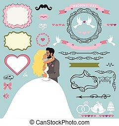 Wedding invitation decor elements set with Kissing couple