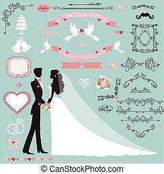 Wedding invitation decor set with couple, swirling borders